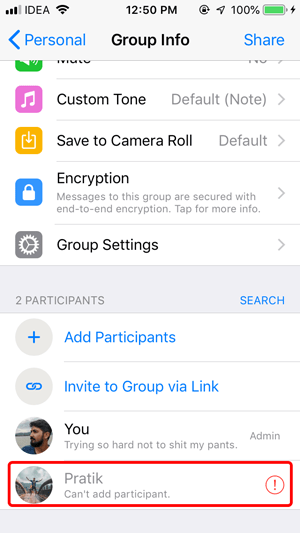 Stop People from Adding You to WhatsApp Groups- can't add