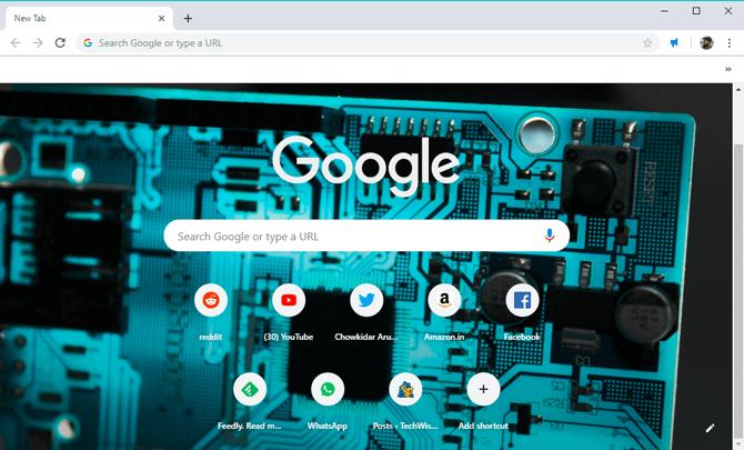 custom background on Google Chrome- set image