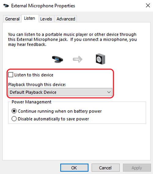 windows sound settings listen mode