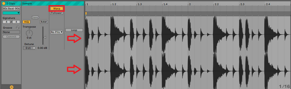Ableton multiple track warp