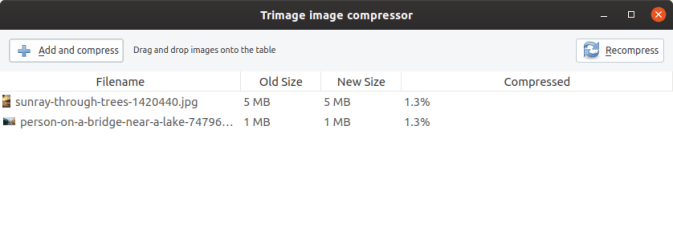 trimage image compression before and after of images