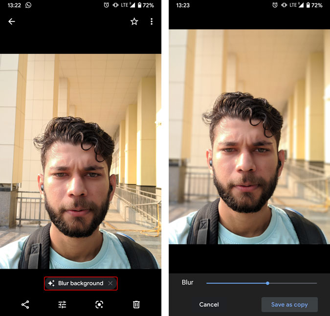 blur potraits in google photos