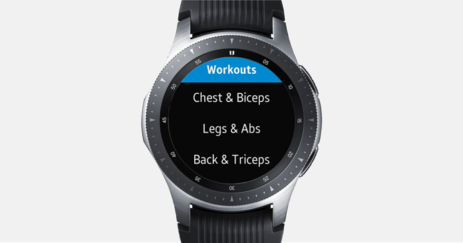 Screenshot of the Galaxy Watch showing different kind of workout