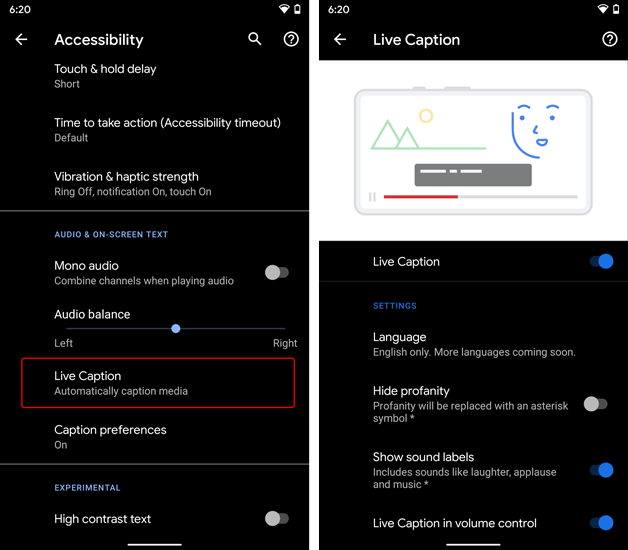 live caption under accessibility menu in settings