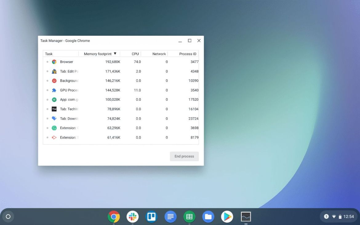 Kill the apps using task manager on chromebook