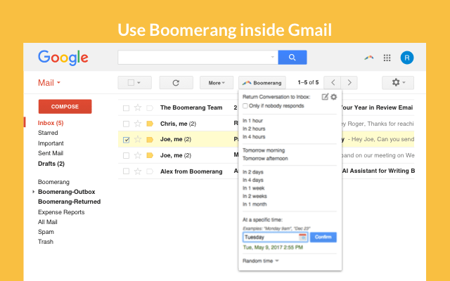using boomerang to schedule emails