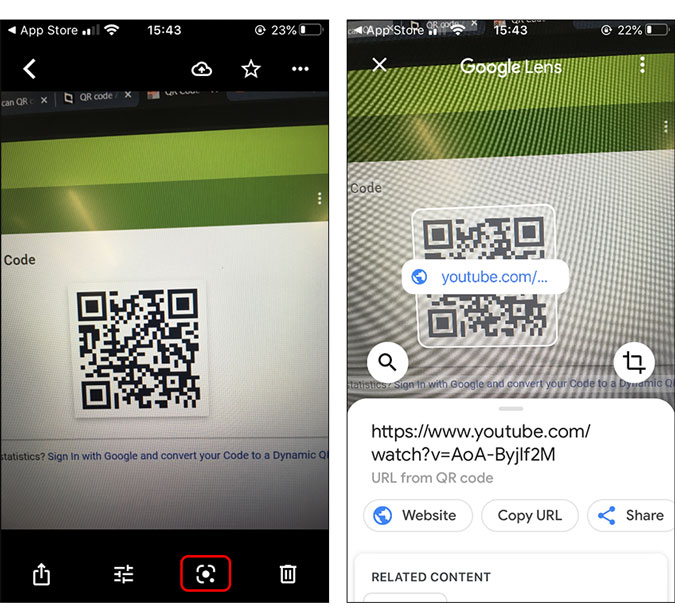 google lens spitting out QR code from image