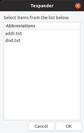 texpander-pop-up-menu - ubuntu text expander