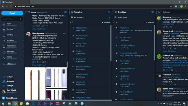 tweet deck client on a web browser showing multiple cloumns