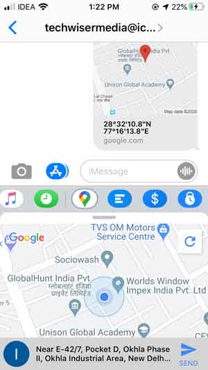 google maps app integration to send your current location