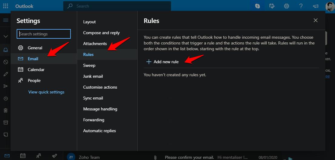 creating inbox rules in outlook