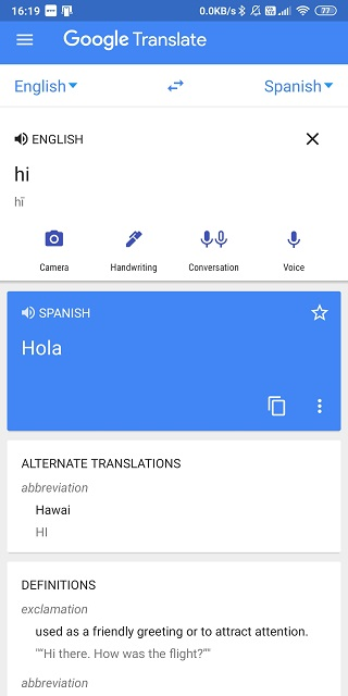 google translate with meaning and definition
