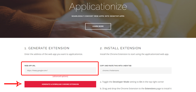 Using Applicationize website to convert keep website into chrome appo