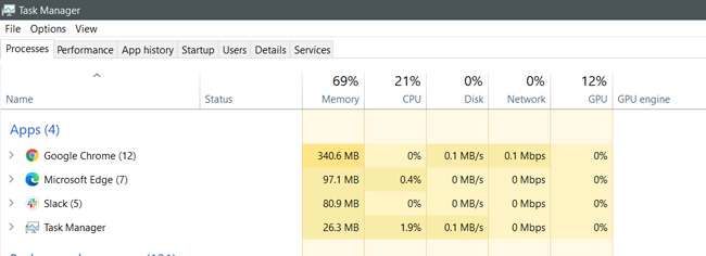 Task Manager showing the memory usage of both Edge and Chrome