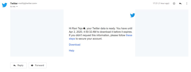 Mail from Twitter to download Twitter Data
