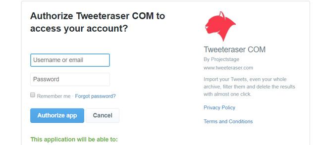 Authorizing Tweet Eraser App