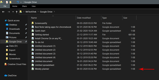Shared file on File Manager