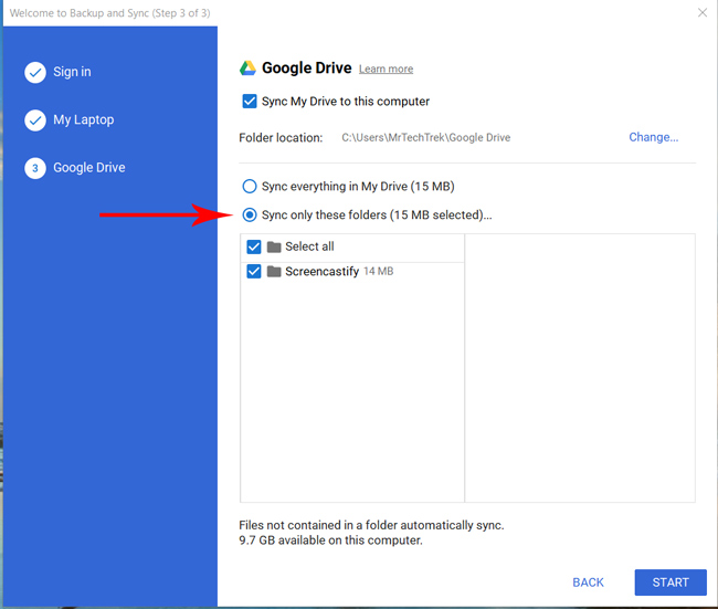 Selecting the folders of Google Drive to sync with file explorer