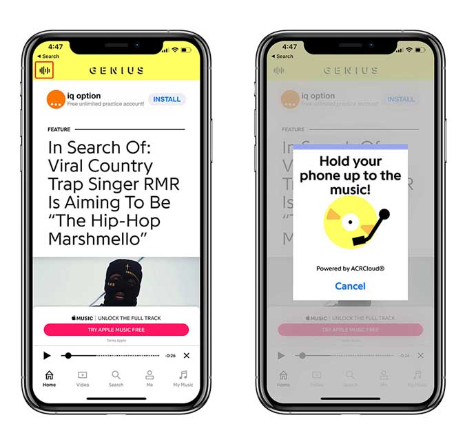 genius app to recognize songs