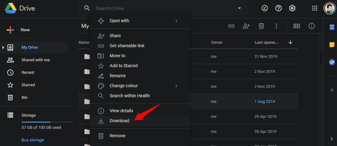google drive how to download folder