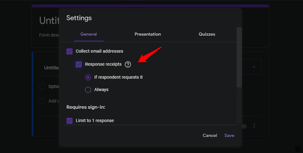 collect email ids of respondents in google forms