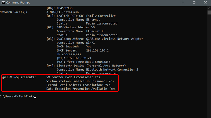 checking Hyper-V requirements on Compand prompt