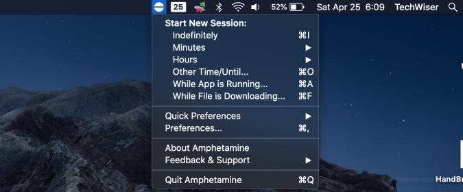 amphetamine app on menubar