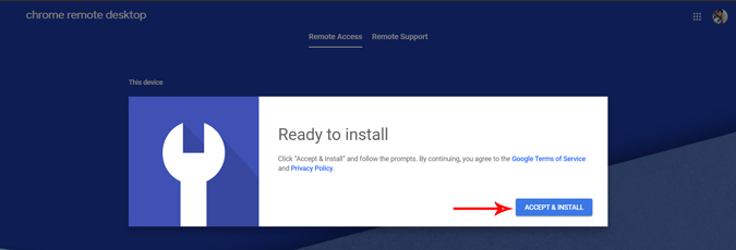 Accepting and installing chrome remote desktop