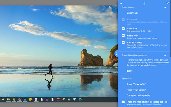 changing chrome remote desktop options