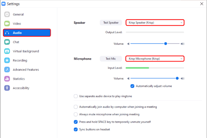 change_default_speaker_and_microphone - Remove Background Noise from Zoom Calls