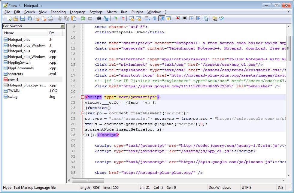 notepad++ layout