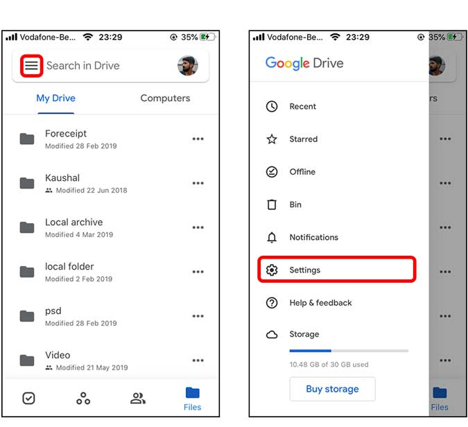 go to settings page on Google drive app