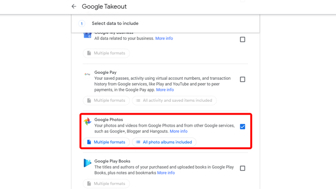 Downloading Google Photos from Google Takeout