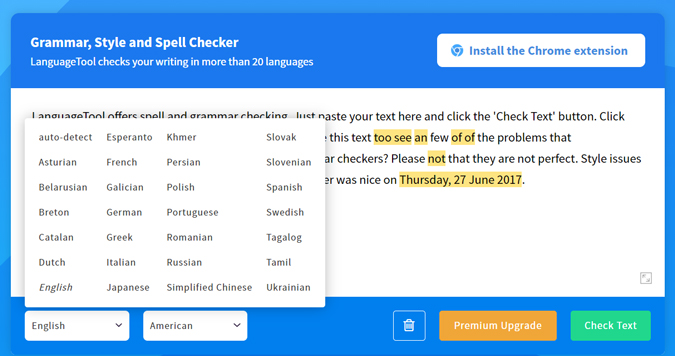 Language tool web app showing all the languages it supports