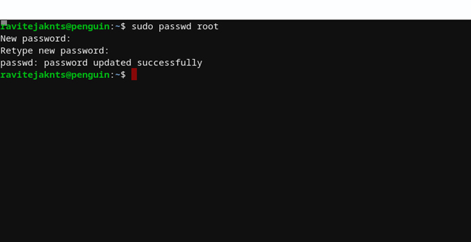 changing password for Linux on Chromebook