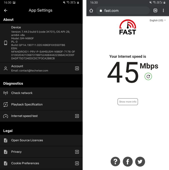fast internet speed test in netflix app