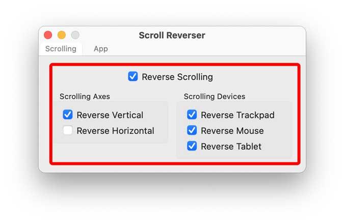 scroll reverser settings