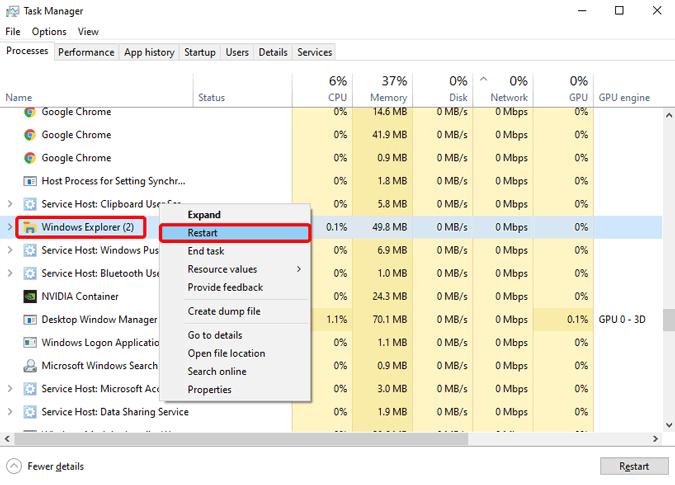 restart-windows-explorer-on-task-manager