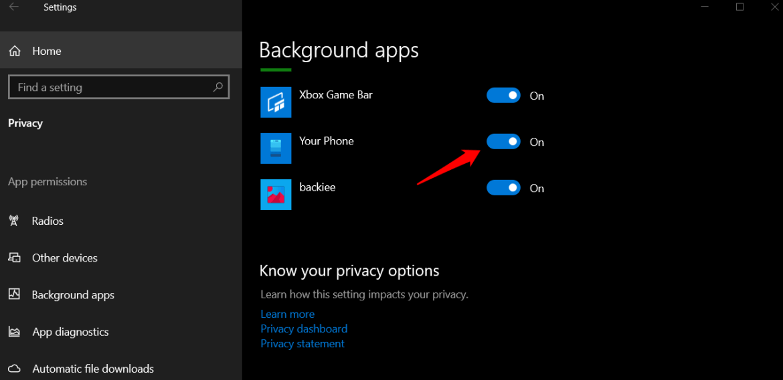 background app in windows