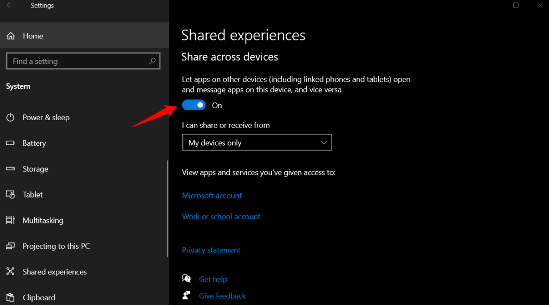 Share across devices option windows 10