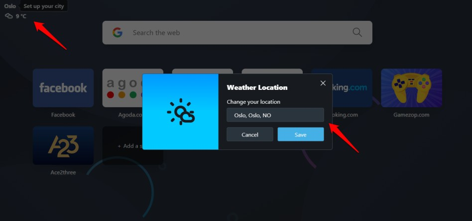 weather report in opera browser