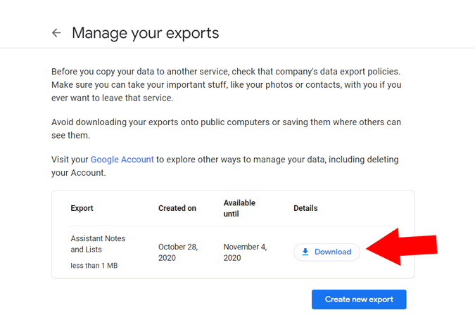 Downloading your Google Takeout export