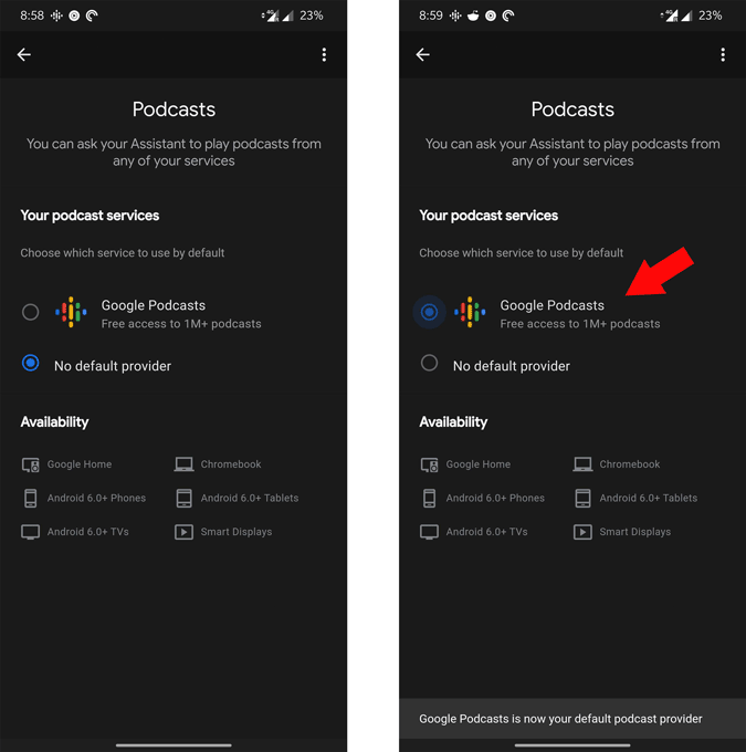 google assistant setting page