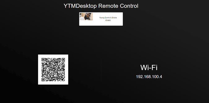 Page that shows QR Code to connect to the Remote Control