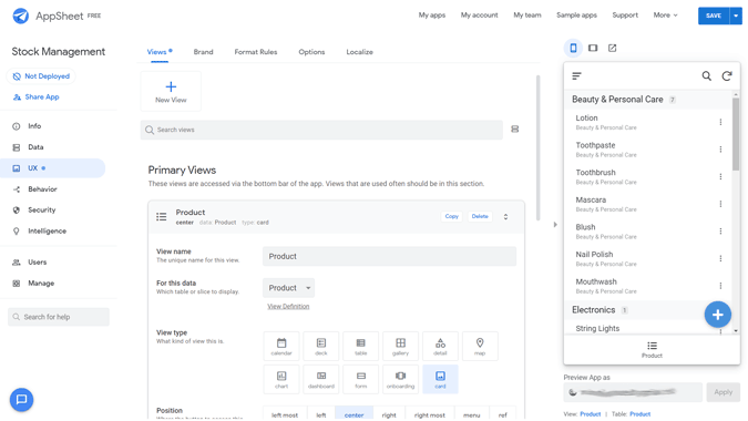 Customizing the UX if the app in AppSheet