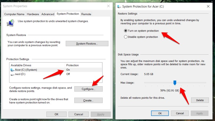 enable restore point creation