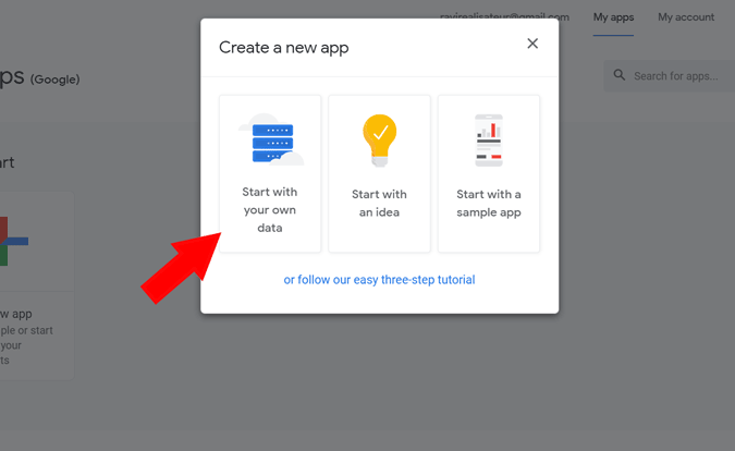 Starting an app from your existing data
