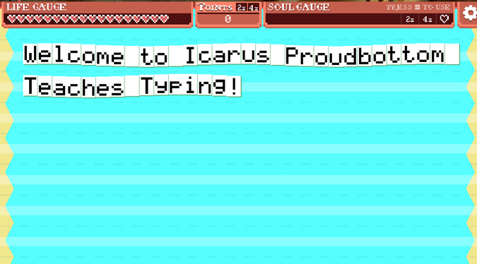 Icarus Proudbottom Typing Game