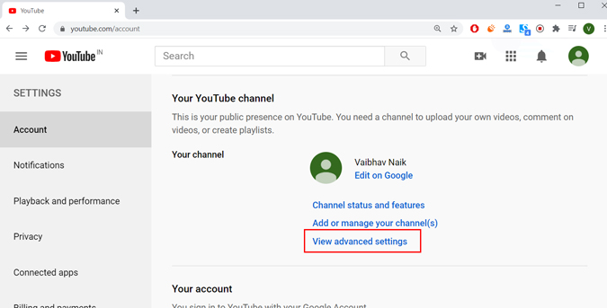 YouTube channel advanced settings