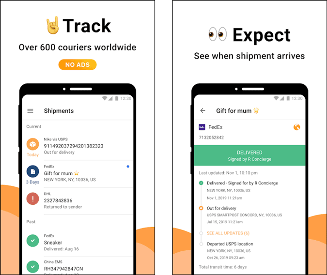 aftership tracking app in action